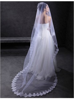 Royal One Layer Cathedral Tulle Lace Wedding Bridal Veil