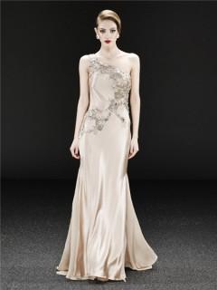 Royal One Shoulder Long Champagne Silk Beaded Crystal Evening Dress