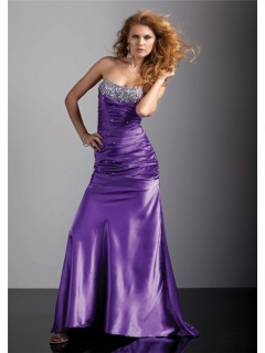 Royal sheath strapless long purple silk prom dress with beading and corset