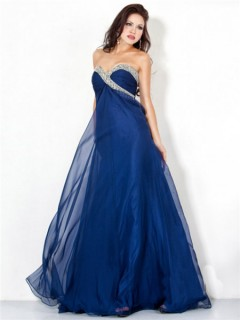 Sexy A Line Sweetheart Long Navy Blue Chiffon Beaded Evening Wear Dress