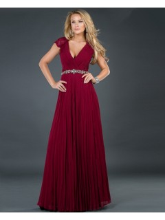 Sexy A line v neck long burgundy beading chiffon evening dress with lace