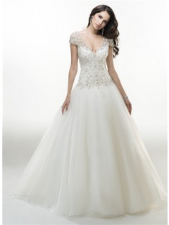 Sexy Ball Gown V Neck Cap Sleeve Organza Beaded Wedding Dress