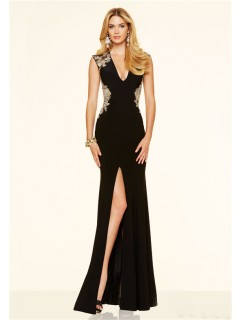 Sexy Deep V Neck High Slit Open Back Black Chiffon Gold Applique Evening Prom Dress