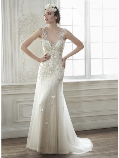 Sexy Deep V Neck Open Back Tulle Beaded Wedding Dress With Flowers