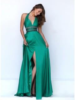 Sexy Halter Front High Slit Long Emerald Green Silk Beaded Prom Dress