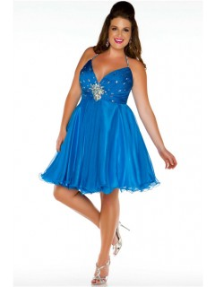 Sexy Halter Mini Short Blue Chiffon Beading Plus Size Party Prom Dress