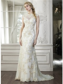 Sexy Mermaid High Neck Cap Sleeve Backless Champagne Lace Applique Wedding Dress