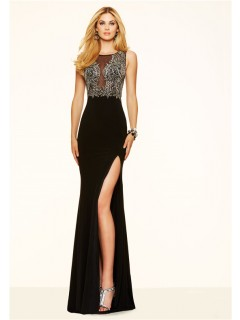 Sexy Mermaid High Slit Sheer Tulle Long Black Chiffon Beaded Prom Dress
