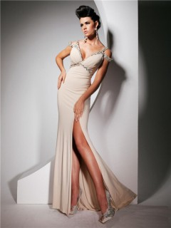Sexy Off Shoulder Deep V Neck Backless Long Beige Chiffon Prom Dress With Beading Straps