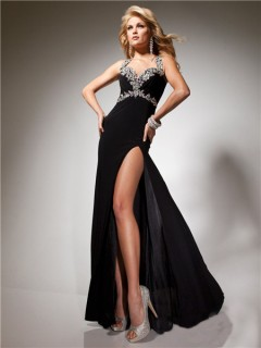 Sexy Sheath Long Black Chiffon Prom Dress With Open Back Beading Crystals Straps
