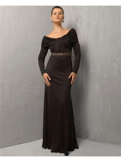 Sexy Sheath Off The Shoulder Long Black Chiffon Evening Dress With Long Sleeve