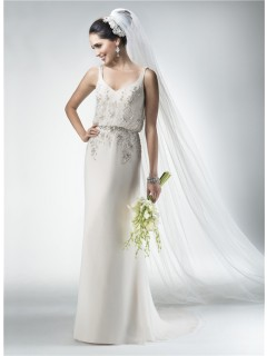 Sexy Sheath V Neck Chiffon Beaded Destination Beach Informal Wedding Dress