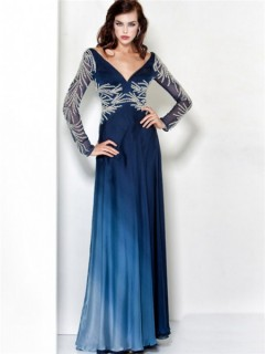 Sexy Sheath V Neck Navy Blue Chiffon Beading Evening Wear Dress With Long Sleeve