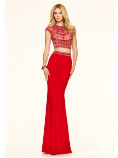 Sexy Slim Two Piece Open Back Cap Sleeve Red Chiffon Beaded Prom Dress