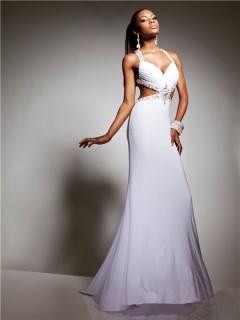 Sexy Sweetheart Straps Backless Long White Chiffon Beading Prom Dress Cut Outs