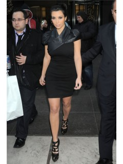 Sexy Tight Short/ Mini kim kardashian Black Leather Dress