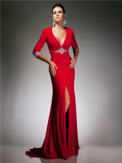 Sexy Tight V Neck Backless Cut Out Long Red Jersey Beading Prom Dress With Sleeve
