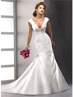Sexy Trumpet/ Mermaid V neck Satin Wedding Dress With low back Swarovski Crystals