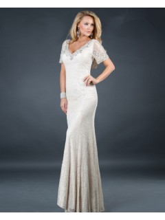 Sexy mermaid v neck long white beading lace evening dress with sleeve