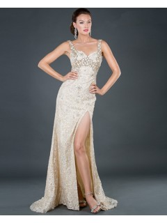 Sexy sheath sweetheart long champagne beading lace evening dress with straps and slit