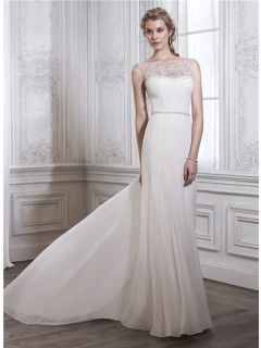 Sheath Bateau Neck Sheer Back Chiffon Tulle Pearl Beaded Wedding Dress