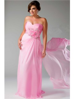 Sheath Sweetheart Long Pink Chiffon Plus Size Party Prom Dress With Beaded Flowers