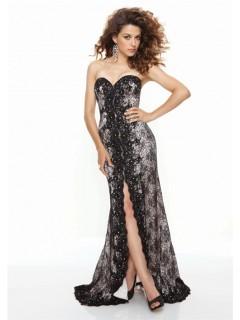 Sheath sweetheart front split long black lace prom dress