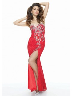 Sheath sweetheart long red lace prom dress with unique beading