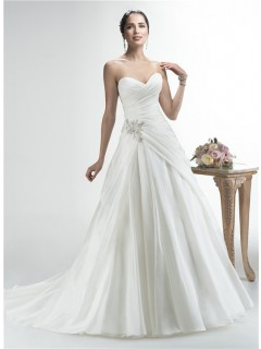 Simple A Line Strapless Sweetheart Organza Draped Wedding Dress With Crystals Buttons