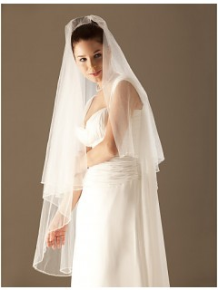 Simple Ivory Tulle Wedding Bridal Veil With Beaded Edge