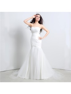 Simple Mermaid Strapless Corset Back Tulle Ruched Wedding Dress
