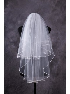 Simple Two Tiers Tulle Ribbon Edge Fingertip Length Wedding Bridal Veil