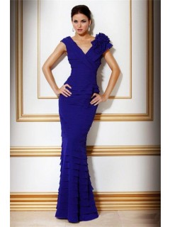 Slim V Neck Long Royal Blue Tiered Chiffon Evening Wear Dress With Flowers
