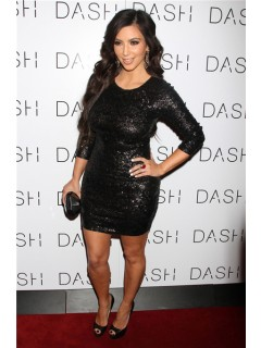 Sparkle Short Black Sequin kim kardashian Inspired Dress With Sleeve