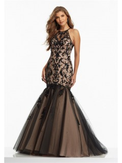 Stunning Mermaid High Neck Black Tulle Embroidery Prom Dress