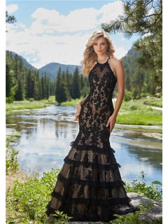 Trumpet Halter Open Back Black Lace Tulle Ruffle Tiered Prom Dress
