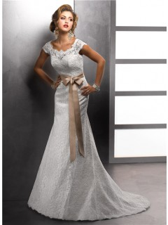 Trumpet/ Mermaid Bateau Cap Sleeves Vintage Lace Wedding Dress With Sash Buttons