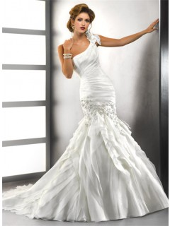 Trumpet/ Mermaid One Shoulder Tiered Organza Wedding Dress With Crystals Applique