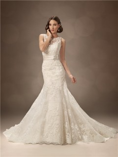 Trumpet/Mermaid bateau chapel train backless lace wedding dress