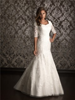 Trumpet/ Mermaid square court train modest wedding dress with lace sleeves