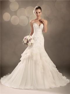 Trumpet/Mermaid sweetheart chapel train organza ruffles wedding dress