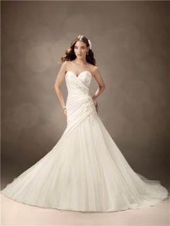 Trumpet/Mermaid sweetheart chapel train satin tulle beaded wedding dress