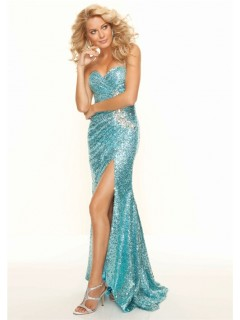 Trumpet/Mermaid sweetheart floor length blue sequined prom dress with split front