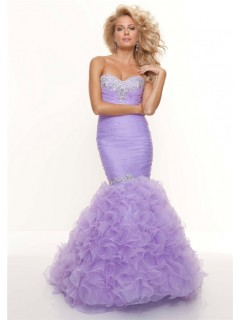 Trumpet/Mermaid sweetheart long lavender prom dress with ruffles and beading