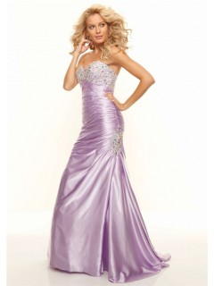 Trumpet/Mermaid sweetheart long lilac silk prom dress with beaded