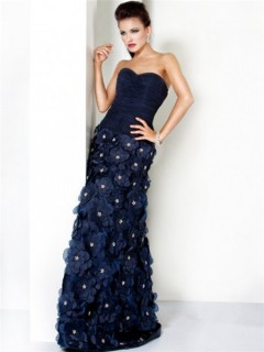 Unique Princess Sweetheart Long Navy Blue Evening Prom Dress With Flowers