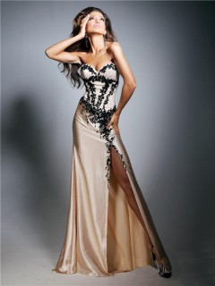 Unique Sheath Sweetheart Long Champagne Silk Black Embroidery Evening Prom Dress
