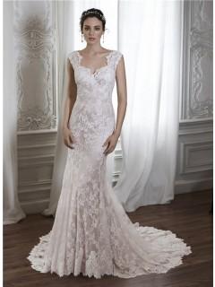 Vintage Mermaid Scalloped Neckline Sheer Back Cap Sleeve Lace Wedding Dress