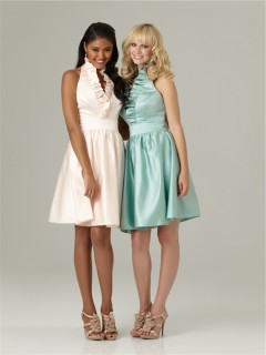 A line halter ruffle neck knee length short mint green silk satin bridesmaid dress