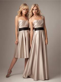 A line one shoulder champagne silk satin bridesmaid dress with black sash